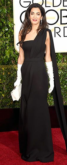 The dress, gloves and hair are all wearing her. Gorgeous woman, but I expected more from her. Amal Alamuddin: 2015 Golden Globes