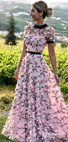 05356a0566 See-Through Floral Holiday Long Cheap Prom Dresses with Appliques