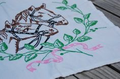 Vintage 1950s horse embroidery table scarf, breast cancer fund