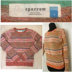 """Anthropologie Sparrow Woven Sweater X-SMALL B14-342-GW5 - Anthropologie Sparrow Woven Sweater X-SMALL // multi-colored // worn once - in excellent condition // 59% cotton, 26% polyester, 5% merino wool, 5% acrylic, 5% other fibers - Approx. Measurements: Length-22"""" / Bust-18"""" / Sleeve-28"""" Anthropologie Sweaters Crew & Scoop Necks"""