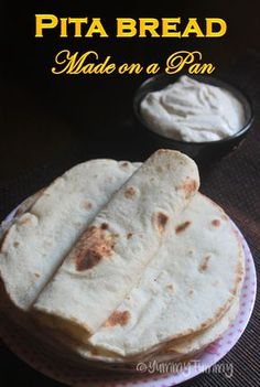 Puffy soft arabic pita bread which is so easy to make. Make this arabic bread and enjoy it with grilled chicken, garlic sauce and hummus. This stove top version is easier than oven version. It taste way better than oven ones. Pita Recipes, Flatbread Recipes, Cooking Recipes, Pastry Recipes, Greek Recipes, Cooking Tips, Lebanese Pita Bread Recipe, Lebanese Recipes, Pork