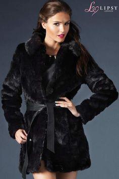 Lipsy Irregular Pelt Belted Coat
