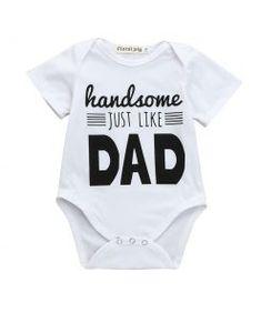 Handsome Just Like Dad Baby Boy Short Sleeves Romper #baby #babycute #babylove #babystyle #babys #babies #babyboy #babygirl #babygirls #babylove #babyshop #babybump #babyclothes #babyfashionista #momtobe #babyswag #mybaby #mybabyboy #mybabygirl #babyfashion