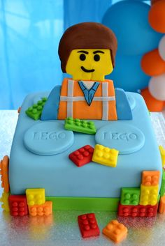 Such a fun cake at a LEGO Birthday Party! See more party ideas at… Lego Movie Cake, Lego Movie Birthday, Lego Movie Party, Lego Cake, 6th Birthday Parties, 3rd Birthday, Birthday Ideas, Indian Cake, Party Cakes