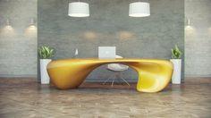design Evfyra Extravagant Office Desk Showcasing a Fluid Shape: Evfyra Table by NUVIST Home Office, Cool Office Desk, Modern Office Desk, Office Table, Stylish Office, Office Desks, Table Desk, Desk Lamp, Futuristic Interior