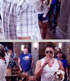 Season 9 gag reel. Click through for full GIFset. I will never get enough of Jensen in this white tank, and especially the short shorts lol!