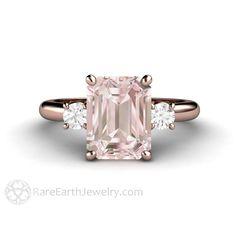 Rare Earth Jewelry Emerald Cut Morganite Ring with Diamonds Rose Gold Setting