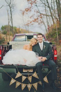 Just Married!-Kirkland must purchase a truck in order for this pic to really work for us.  please let him know:)