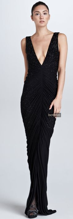 Ralph Lauren Collection - Clarissa Beaded Plunging V-Neck Gown, Neiman Marcus