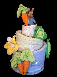 Peter Rabbit Topsy Turvy Diaper Cake - Baby Easter Gift, Easter Basket,  Baby Shower, Diaper Cake, Centerpiece, nursery decor. $164.95, via Etsy.