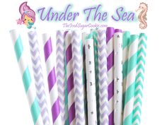 "Mermaid ""Under The Sea"" Paper Straws Package of 25 straws in a mix of 5 different patterns. Straw length is 7-3/4 inches. Clipart cartoons are by The Happy Graphics on Etsy. You can find her on instag"