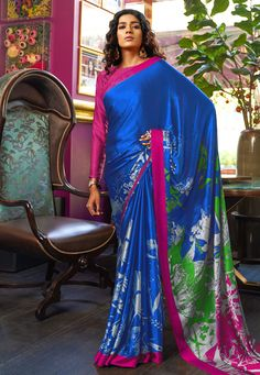 Style Array Present Blue Colored Printed Satin Japanese Crepe Saree in Best Qaulity Buy This Attractive Look Blue Colored Printed Satin Japanese Crepe Saree in Best Qaulity Bridal Lehenga Choli, Silk Lehenga, Net Saree, Crepe Saree, Satin Saree, Wrap Around Skirt, Simple Sarees, Blue Saree, Saree Shopping