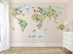 Cultural World Map Wall Decal Reusable Vinyl by Walls2LifeDecals
