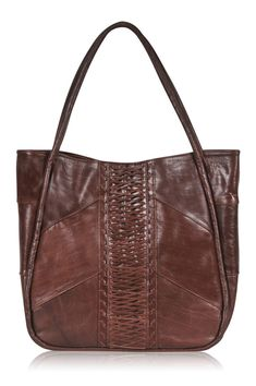 This bag is made to order from high quality leather.    This stylish leather tote features beautiful weaving and leather stitches down the center. Two