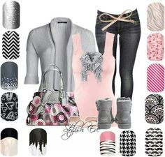 Jamberry nails - Nail art made easy Jamberry Nail Wraps - Buy 3 get 1 free! If you would like to purchase Jamberry nail wraps Cute nails! Last up to 2 week on fingers 6 on toes. Jamberry Nails Consultant, Jamberry Nail Wraps, Jamberry Style, Jamberry Outfits, Grey Outfit, Pink Grey, Pale Pink, Autumn Winter Fashion, Fall Fashion