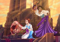 Two strong female characters standing up for what they feel is cruelty and an injustice Belle, Esmeralda and Quasimodo Disney Princess Art, Disney Fan Art, Disney Love, Disney Princesses, Disney And Dreamworks, Disney Pixar, Esmeralda Disney, Disney Crossovers, Walt Disney Pictures