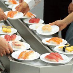 Justin's favorite part of Japan...Conveyor belt sushi! :)
