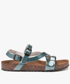 Sandales plates dessus verni Turquoise