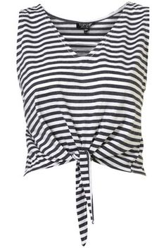 Stripe Knot Crop - T-Shirts - Jersey Tops - Clothing Strappy Crop Top, Striped Tank Top, Striped Shirts, Stripe Top, Summer Crop Tops, Crop Shirt, Crop Tank, Tank Tops, Topshop