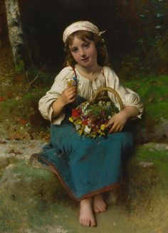 Original oil on canvas by Léon-Jean-Basile Perrault entitled Young Girl with a Basket of Flowers. Signed and dated French Academic art for sale at M. Classic Paintings, Beautiful Paintings, William Adolphe Bouguereau, Religious Paintings, Academic Art, Tile Murals, Wassily Kandinsky, Painting For Kids, Children Painting