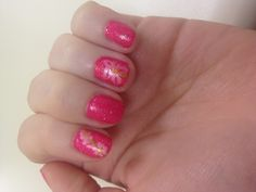 Hot pink and flowers nail design