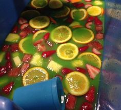 Jungle Juice  1 bottle Malibu Coconut Rum 1 bottle Parrot Bay Pineapple Rum 1 bottle White Rum  1 bottle Blue Curaçao  2 gallons Orange Juice  2 big cans of Pineapple Juice   Fruits  Watermelon  Orange  Pineapples  Strawberries
