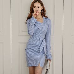 2017 New Long-sleeved Striped Lace Fashion Shirt-style Package Hip Dress