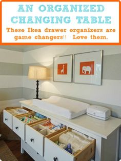 Gray striped nursery with orange accents - drawer organizers--great room!