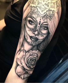 Pink rose tattoo – artist – Famous Last Words Sugar Skull Girl Tattoo, Skull Rose Tattoos, Pink Rose Tattoos, Leg Tattoos, Arm Tattoo, Body Art Tattoos, Sleeve Tattoos, Sugar Skull Sleeve, Female Tattoo Sleeve