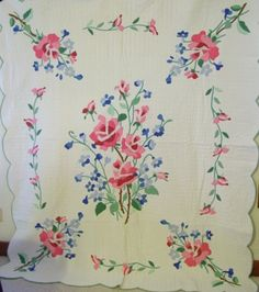 Old Quilt Patterns | full view of the American Beauty pattern applique quilt