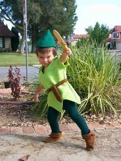 Peter Pan Child Costume            This is a custom made Peter Pan costume for purchase only.            This costume can be made in size 2T-8 years.          The tunic (top) is made from lime green Polyester faux suede. It is not real suede, just simply a faux suede. Looks just like and authentic Peter Pan Costume, that you would picture in a Movie.                The pants are made from a rayon jersey knit fabric. The waist is filled with an elastic band. The hat is made