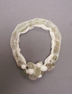 "Lisa Kröber Necklace   ""My inner-outside"". Textile, green rawstones"