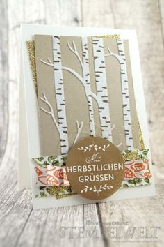 Card with Among the Branches and Embossing Folder Woodland