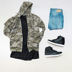Camo jacket outfit grid