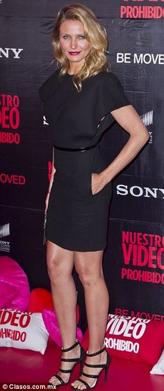 Cameron Diaz flashed her slim pins in a simple but elegant LBD at the Mexico City premiere of Sex Tape http://dailym.ai/1kowykL