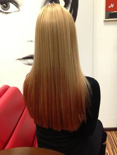 Blonde color Cipria with red Ombre.