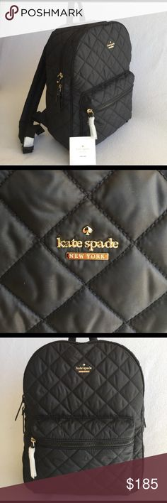 "KATE SPADE ♠️ ""Siggy/Ridge St."" Quilted Backpack! KATE SPADE ♠️ ""Siggy/Ridge Street"" Quilted Backpack! Beautiful black matte quilted nylon backpack with crosshatched leather trim. Features zip front pocket, wrap around top zip, and 3- pocket interior. 14k gold hardware. Lined. Locker loop w 2.5"" drop. Adjustable padded shoulder strap. Measurements are approximately: 14""x11""x5"".  Care booklet included. NWT. kate spade Bags Backpacks"