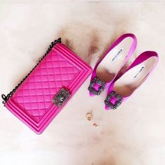 Pink Chanel and Manolo Blahniks Manolo Blahnik Shoes, Winter Shoes, Chanel Boy Bag, Coco Chanel, Chanel Ballet Flats, Designer Shoes, Me Too Shoes, Purses And Bags, Fashion Shoes