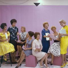 1962: Contributors to the ABC's coast to coast programme 'Flair'. From l to r; Mimi Benzell, Bess Myerson, Phyllis Battelle, Charlotte Lord, Betty Walker, Margaret Truman, Betsy Palmer and Fran Allison.