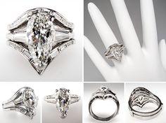 Vintage 2 Carat Marquise Cut Diamond Engagement Ring Bridal Set