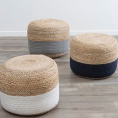 These gorgeous Wayfarer poufs by Habitat made from Jute will be sure to compliment almost any home decor. Available in three classic colours, Grey, Navy and White.