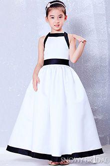 Black and White Flower Girl Dresses - FD1712http://www.snowybridal.com/p/White-Black-Sleeveless-Long-Satin-Bow-Ball-Gown-Flower-Girl-Dress_1712/