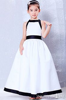 Black and White Flower Girl Dresses - FD1712http://www.snowybridal.com/p/White-Black-Sleeveless-Long-Satin-Bow-Ball-Gown-Flower-Girl-Dress_1712/