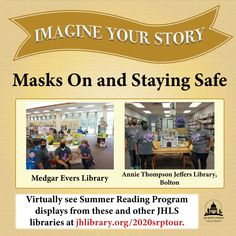SUMMER READING PROGRAM UPDATE: Check out our staff members wearing masks with this year's Summer Reading Program displays! See these pictures and more on our virtual display tour at jhlibrary.org/2020srptour. #SRP2020 #ImagineYourStory