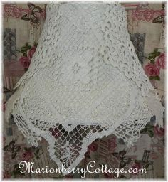 Vintage Lace and crochet hanging Headboard lamp