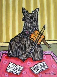 Art: Scottish Terrier Playing the Violin by Artist Jay H Schmetz
