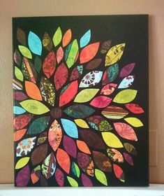 I'm thinking this would be pretty easy with scrap paper or fabric on painted canvas, cover with modpodge!