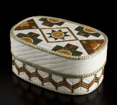 Quill Basket (Oval Geometric design), by Lorraine Besito, Ojibwa (Saugeen) artist.