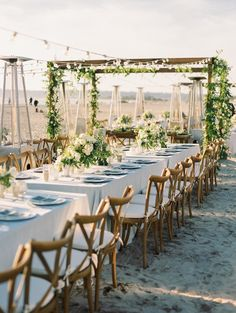 At Style Me Pretty we've seen lots of beautiful beach ceremonies but this beach reception is seriously something special. With wood beam cabanas adorned with greenery and romantic white flowers this Bride and Groom created an intimate cozy wedding next Cozy Wedding, Beach Wedding Reception, Wedding Reception Decorations, Wedding Themes, Wedding Centerpieces, Perfect Wedding, Destination Wedding, Dream Wedding, Reception Ideas