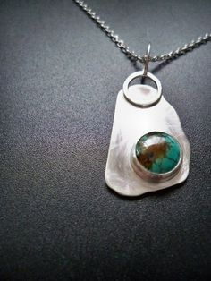 Sterling silver turquoise free-form pendant - necklace - asymmetrical - OOAK - Gemstone jewelery by Lamazonian, $65.00